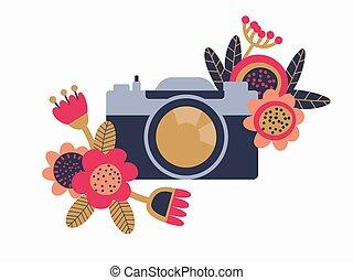 mignon, flowers., isolated., décoré, vendange, icon., design., illustration., retro, griffonnage, appareil photo, vecteur