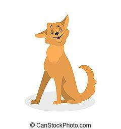 mignon, fourrure, sitting., brun, caractère, chien, rigolote, chiot
