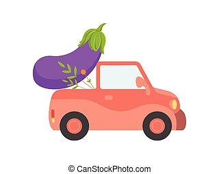 mignon, géant, jardin, voiture, légumes, expédition, livraison, vecteur, illustration, vue, frais, côté, rouges, aubergine