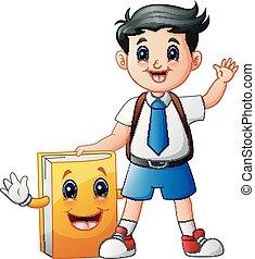 mignon, garçon école, caractère, uniforme, livre, dessin animé