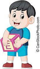 mignon, garçon, cube, tenue, alphabet