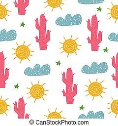 mignon, garçon, vêtements, pattern., seamless, scandinave, postcards., girl., children's., bright., print., style., ton, cactus., design.