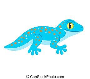 mignon, gecko, dessin animé, tokay