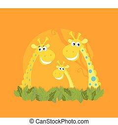 mignon, girafe, portrait famille