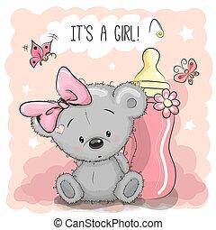 mignon, girl, dessin animé, ours