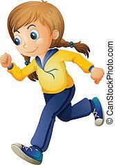 mignon, girl, jogging
