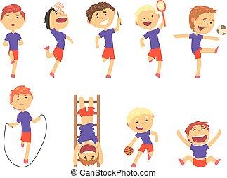 mignon, gosses, coloré, set., sports, garçons, activité, illustrations, jouer, dessin animé, heureux