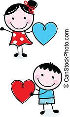 mignon, gosses, figure, valentine, crosse, tenue, cœurs, jour