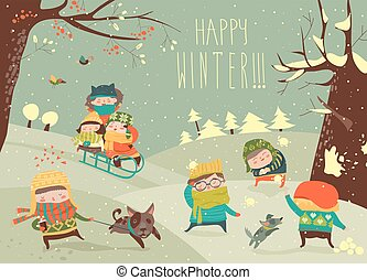 mignon, gosses, jeux, jouer, hiver