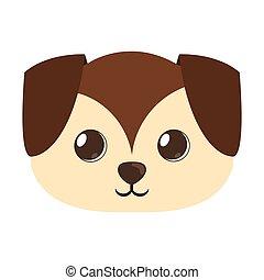 mignon, grand, chien, chiot, dessin animé, oreilles