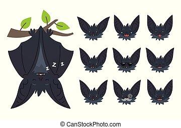 mignon, halloween, bas, pendre, bat-eared, style., vector., têtes, set., fermé, branch., créature, emoticon, plat, animal, illustration, vampire., ailes, chauve-souris, emoji., gris, dormir, dessus, émotif
