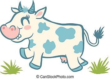 mignon, herbe, vert, vache