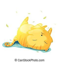 mignon, illustration, chat, vecteur, orange, dessin animé