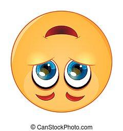 mignon, -, illustration, faire face bas, vecteur, dessus, emoticon, emoji