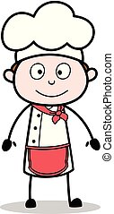 mignon, illustration, figure, chef cuistot, vecteur, sourire, dessin animé