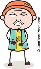 mignon, illustration, figure, vecteur, papy, sourire, dessin animé