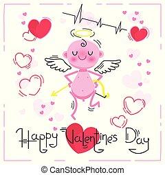 mignon, illustration., valentines, cupidon, arrière-plan., vecteur, cœurs, blanc, jour, carte