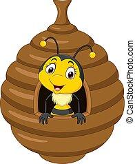 mignon, intérieur, ruche, dessin animé, abeille, peu