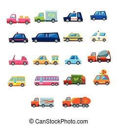 mignon, jouet, ensemble, voiture, icônes