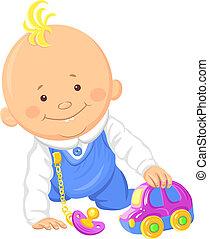 mignon, jouet, garçon, voiture, vecteur, bébé, jouer