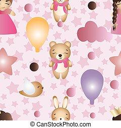 mignon, jouet, modèle, dessin animé, dorlotez fille, lapin