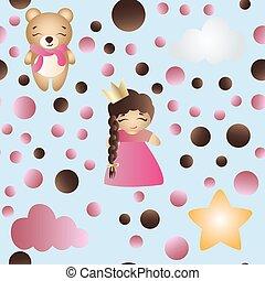 mignon, jouet, modèle, ours, dorlotez fille, dessin animé