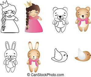 mignon, jouet, oiseau, girl, ours, bébé, dessin animé, lapin
