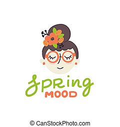 mignon, lettrage, isolé, printemps, humeur, girl