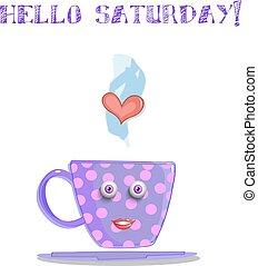 mignon, lilas, tasse, texte, samedi, sourire, bonjour, dessin animé