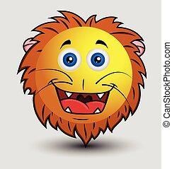 mignon, lion, smiley, heureux