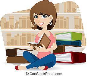mignon, livre bibliothèque, lecture fille, dessin animé