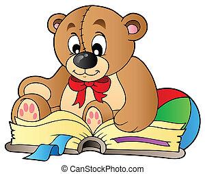 mignon, livre lecture, ours, teddy