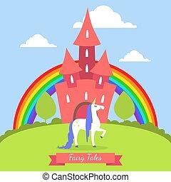 mignon, magie, arc-en-ciel, contes, illustration, vecteur, été, licorne, fée, bannière, château, paysage, gabarit