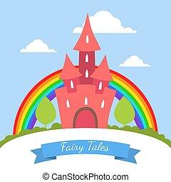 mignon, magie, arc-en-ciel, contes, illustration, vecteur, été, rouges, fée, bannière, château, paysage, gabarit