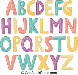 mignon, main, dessiné, heureux, alphabet