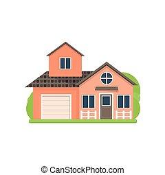 mignon, maison légère, garage, village, petit, rouges