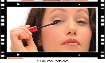 mignon, making-up, femmes, montage