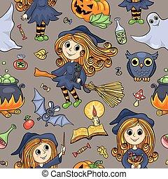 mignon, modèle, halloween, seamless, hand-drawn, dessin animé