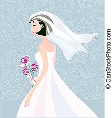 mignon, modèle, mariée, conception, retro, fond, carte