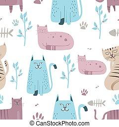 mignon, modèle, seamless, chat, dessiné, main, dessin animé