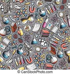 mignon, modèle, seamless, main, science, dessiné, dessin animé