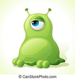 mignon, monstre, isolé, arrière-plan., vecteur, blanc vert