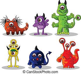 mignon, monstres, dessin animé