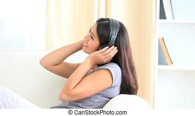 mignon, musique, femme, écoute