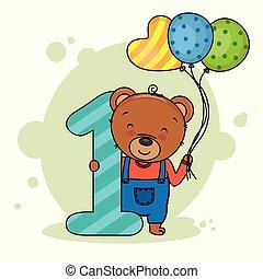 mignon, nombre, ours, une