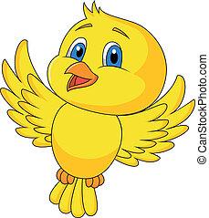 mignon, oiseau volant, dessin animé