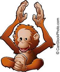 mignon, orang-utan, illustration, vecteur