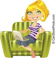 mignon, ordinateur portable, vert, blonds, chaise, girl