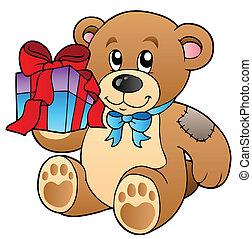 mignon, ours, cadeau, teddy