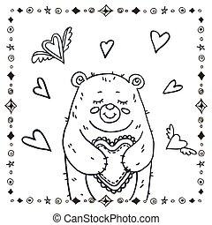 mignon, ours, coeur